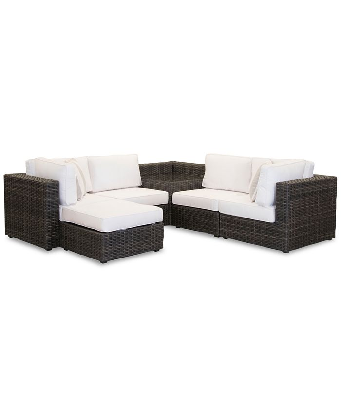Furniture - Viewport Outdoor 6-Pc. Modular Seating Set (2 Corner Units, 2 Armless Units, 1 Corner Table and 1 Ottoman) with Sunbrella® Cushions