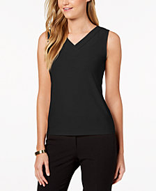 Tahari ASL Shirred V-Neck Top