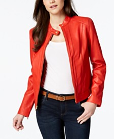 Cole Haan Seamed Leather Jacket