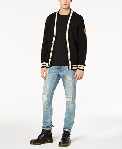American Rag Men's Varsity Cardigan, T-Shirt & Destroyed Jeans, Created for Macy's