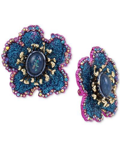 Betsey Johnson Two-Tone Multi-Stone & Glitter Flower Clip-On Stud Earrings