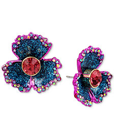 Betsey Johnson Two-Tone Multi-Stone & Glitter Flower Stud Earrings