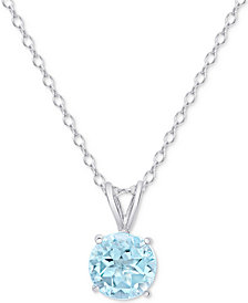 "Blue Topaz (1-1/2 ct. t.w.) 18"" Pendant Necklace in Sterling Silver"