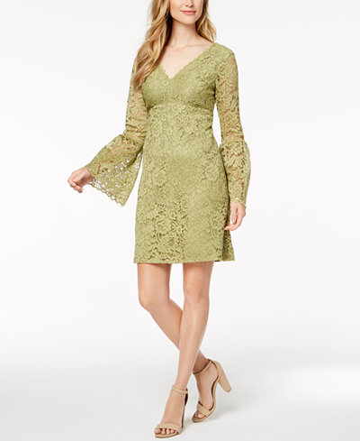 Betsey Johnson Lace Bell-Sleeve Dress