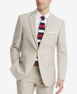 Men's Modern-Fit Flex Stretch Tan Suit Jacket