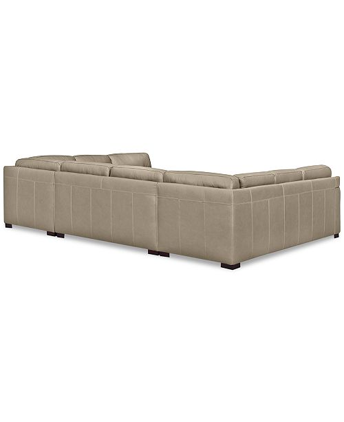 Furniture Avenell 3 Pc Leather Pit Sectional With Sofa