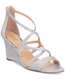 Jewel Badgley Mischka Ally Strappy Evening Wedge Sandals