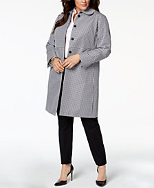 Anne Klein Plus Size Gingham-Print Jacket