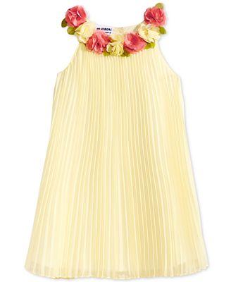 Blueberi Boulevard 3D Flower Pleated Shift Dress, Toddler Girls