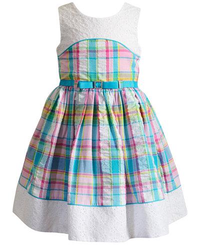 Sweet Heart Rose Eyelet-Trim Plaid Dress, Toddler Girls