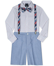 Nautica 4-Pc. Dot-Print Shirt, Shorts, Suspenders & Bowtie Set, Little Boys