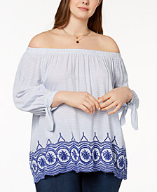 John Paul Richard Plus Size Embroidered Peasant Top