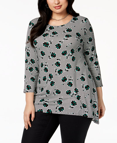Alfani Plus Size Floral-Print Top, Created for Macy's