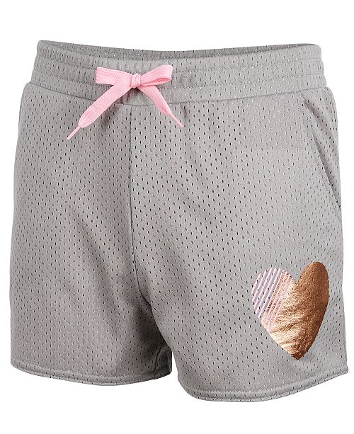 Ideology Gold Heart Mesh Shorts, Big Girls, Created for Macy's