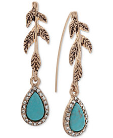 lonna & lilly Gold-Tone Pavé & Colored Stone Leaf Drop Earrings
