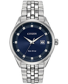 Citizen Eco-Drive Men's Corso Diamond-Accent Stainless Steel Bracelet Watch 41mm