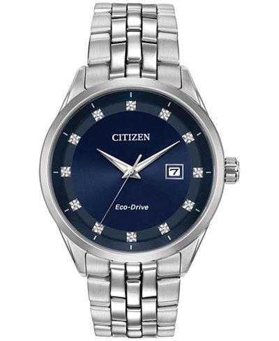 Citizen Eco-Drive Men's Corso Diamond-Accent Stainless Steel Bracelet Watch 41mm