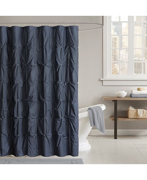 "INK+IVY Masie Cotton 72"" x 72"" Embroidered Ruched Shower Curtain"