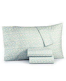 Martha Stewart Essentials Printed Microfiber 4-Pc. Queen Sheet Set, Created for Macy's