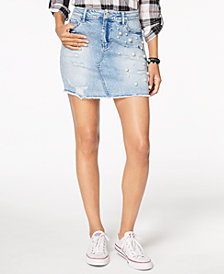 Tinseltown Juniors' Ripped Embellished Denim Skirt