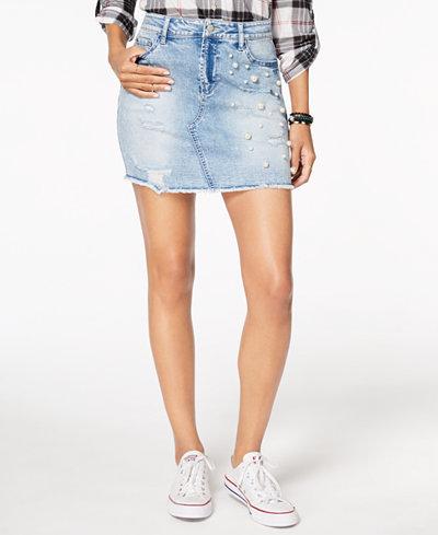 Tinseltown Juniors' Ripped Embellished Denim Skirt