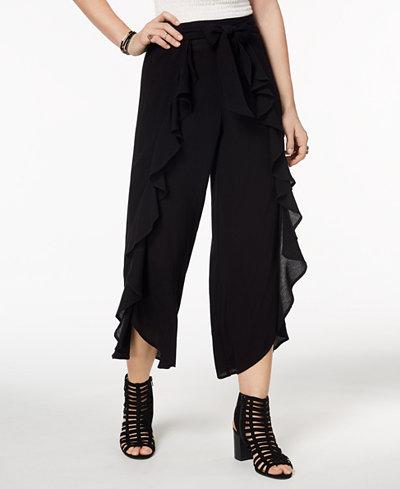 American Rag Juniors' Ruffled Flyaway Pants, Created for Macy's