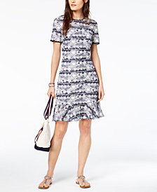 Tommy Hilfiger Striped Lace Flounce-Hem Dress
