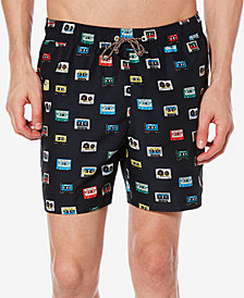 Original Penguin Men's Reversible Cassette-Print Swim Suit