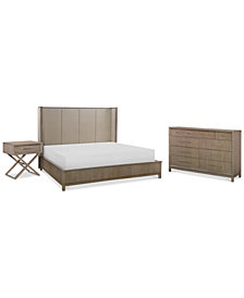 Rachael Ray Highline Bedroom Furniture, 3-Pc. Set (Upholstered Shelter California King Bed, Dresser & Bedside Chest/Nightstand)