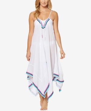 Jessica Simpson Lace-Up Handkerchief-Hem Cover-Up Dress Women's Swimsuit 5832451