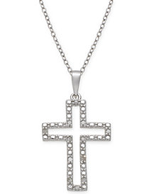 "Diamond Cross 18"" Pendant Necklace (1/10 ct. t.w.) in Sterling Silver"