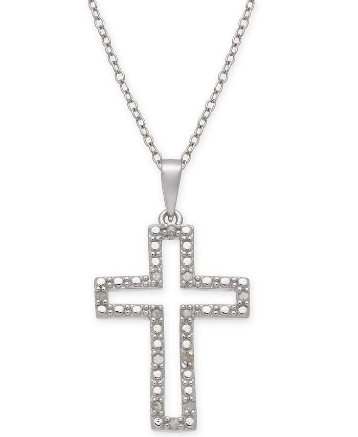 """Macy's - Diamond Cross 18"""" Pendant Necklace (1/10 ct. t.w.) in Sterling Silver"""