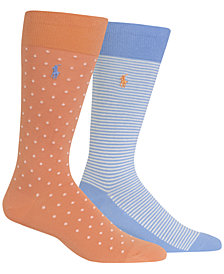 Polo Ralph Lauren Men's 2-Pk. Dots & Stripes Dress Socks