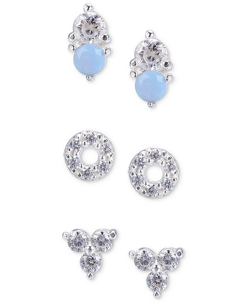 3bcb8919a ... Unwritten 3-Pc. Set Cubic Zirconia and Stone Stud Earrings in Sterling  Silver ...