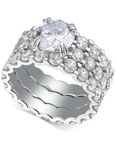 3 Pc-Set Cubic Zirconia Rings in Sterling Silver