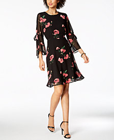 Nine West Floral-Print Tie-Sleeve Chiffon Dress, Created for Macy's