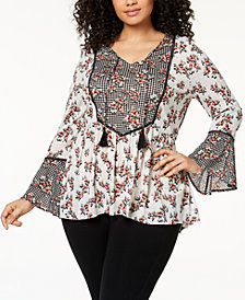 Style & Co Plus Size Bell-Sleeve Peasant Tunic, Created for Macy's