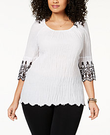 Style & Co Plus Size Cotton Eyelet-Trim Top, Created for Macy's
