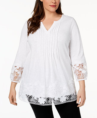 Plus Size Cotton Crochet Trim Top, Created For Macy's by Charter Club