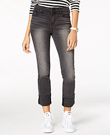 Black Daisy Juniors' Kate Cuffed Straight-Leg Jeans