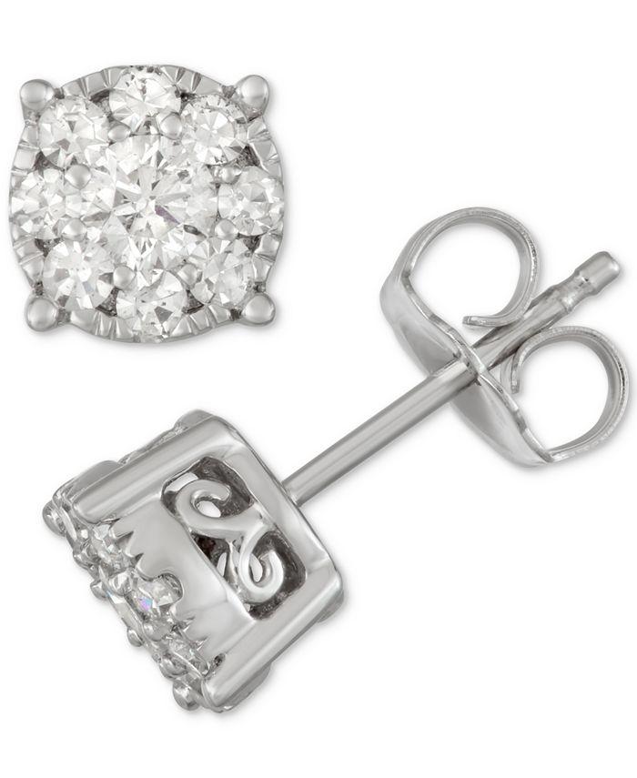 Macy's - Diamond Cluster Stud Earrings (1/2 ct. t.w.) in 14k White Gold