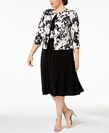 Jessica Howard Plus Size Printed Metallic-Detail A-Line Dress & Jacket