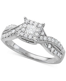 Diamond Princess Twist Engagement Ring (3/4 ct. t.w.) in 14k White Gold
