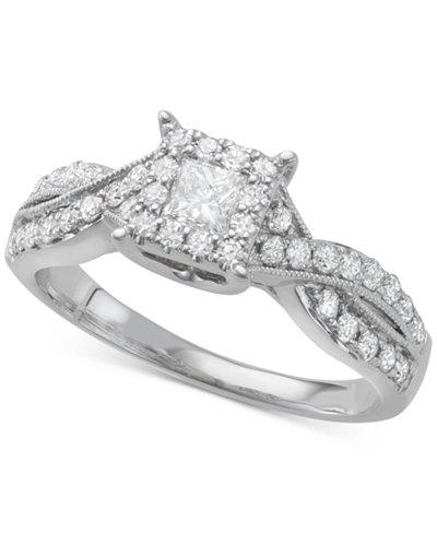 Diamond Princess Twist Engagement Ring (3/4 ct. t.w.) in 14k White Gold