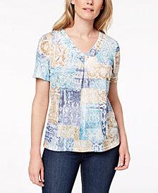 Alfred Dunner Petite Blue Traveler Patchwork-Print T-Shirt