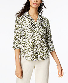JM Collection Linen Utility Shirt, Created for Macy's