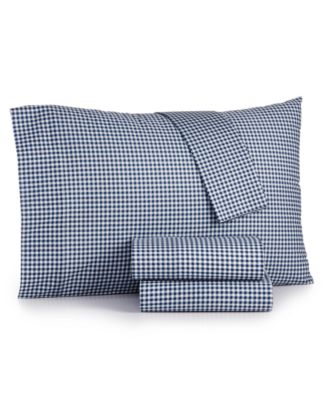 Gingham Cotton Percale 180 Thread Count 3-Pc. Twin Sheet Set