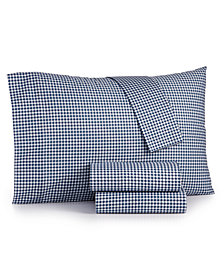 Gingham Cotton Percale 180 Thread Count 4-Pc. Queen Sheet Set