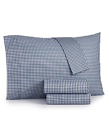 Gingham Cotton Percale 180 Thread Count 4-Pc. Full Sheet Set
