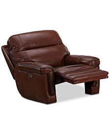 Myars Leather Power Recliner With Power Headrest And USB Power Outlet, Created for Macy's